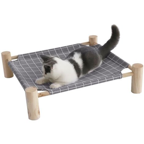 Canvas Cat Bed House Elevated Pet Hammocks Wood Lounge for Small Dogs Cats