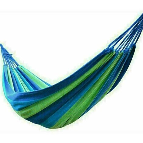 Canvas Hammock Portable Double Outdoor Garden Swing Camping Bed - Blue