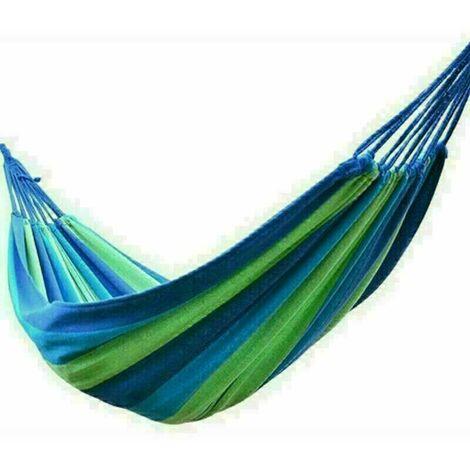 Canvas Hammock Portable Single Outdoor Garden Swing Camping Bed - Blue
