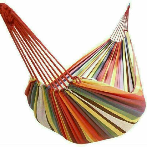 Canvas Hammock Portable Single Outdoor Garden Swing Camping Bed - Multi-Red
