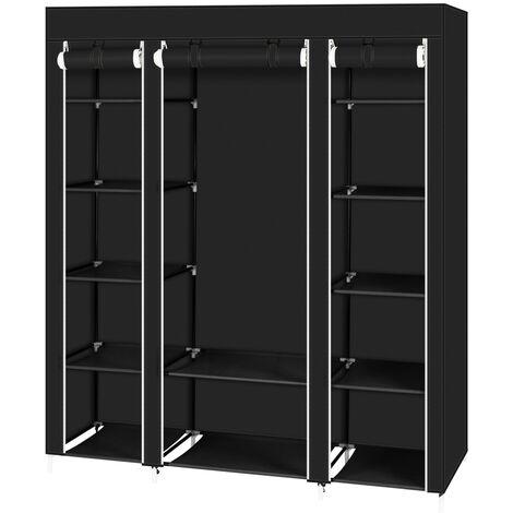 "main image of ""Canvas Wardrobe Bedroom Furniture Cupboard Clothes Storage Organiser - Black - Black"""