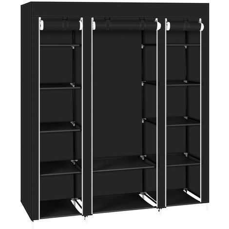 Canvas Wardrobe Bedroom Furniture Cupboard Clothes Storage Organiser - Different colours