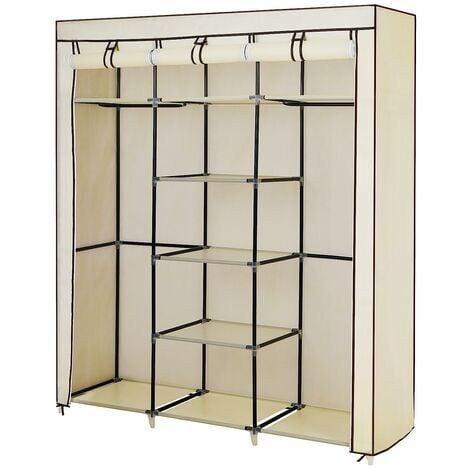 Canvas Wardrobe Cupboard Clothes Hanging Rail Storage Shelves Beige 175 x 150 x 45cm RYG12M