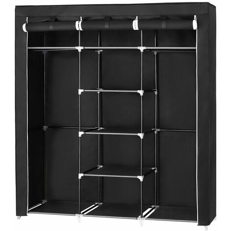Canvas Wardrobe Cupboard Clothes Hanging Rail Storage Shelves Black 175 x 150 x 45cm RYG12B