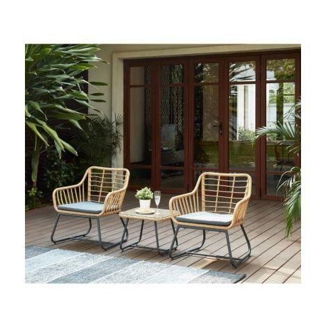 CAP Salon de jardin 2 places en resine imitation rotin avec 2 ...