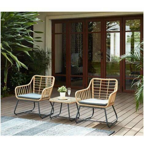 CAP salon de jardin 2 places en résine tressée avec 2 fauteuils et ...