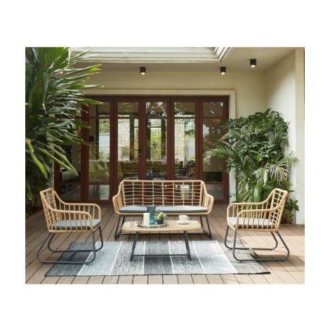 CAP Salon de jardin 4 places en resine imitation rotin avec 2 ...