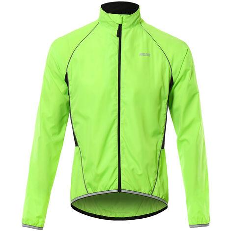 Capa de la chaqueta de manga larga bici Jersey viento chaqueta reflectante transpirable Ciclismo al aire libre de los hombres de ropa deportiva verde Xxl