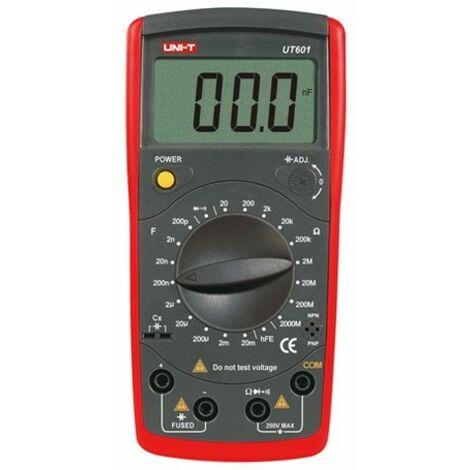 Capacimetro Digital De 200pF A 20mF Mide también resistencias hasta 2000m UNI-T UT601