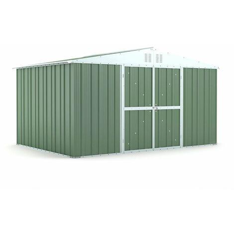 Capanno garage giardino Box in Acciaio Zincato 403x269 cm x h 217 cm - 149KG - 10,84 mq - VERDE