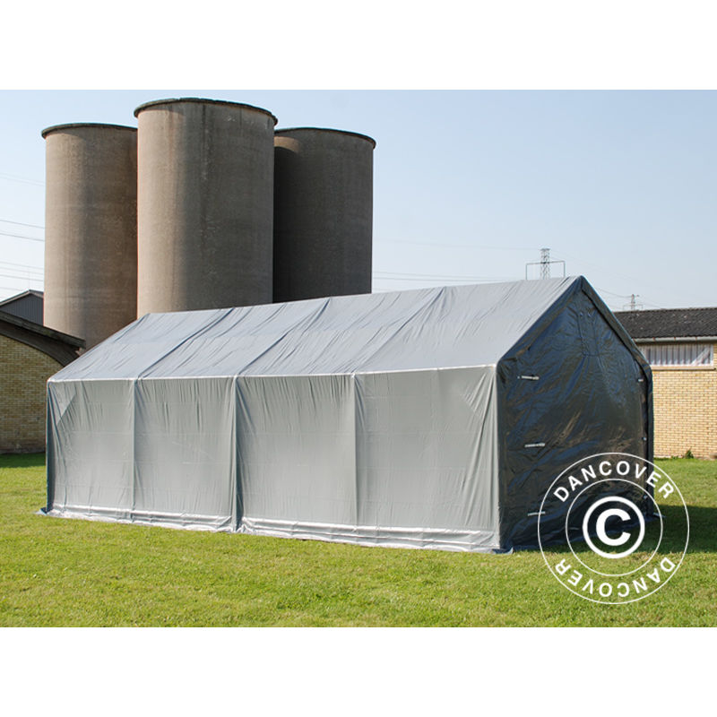 Capannone tenda Tenda magazzino PRO 4x8x2x3,1m, PVC, Grigio