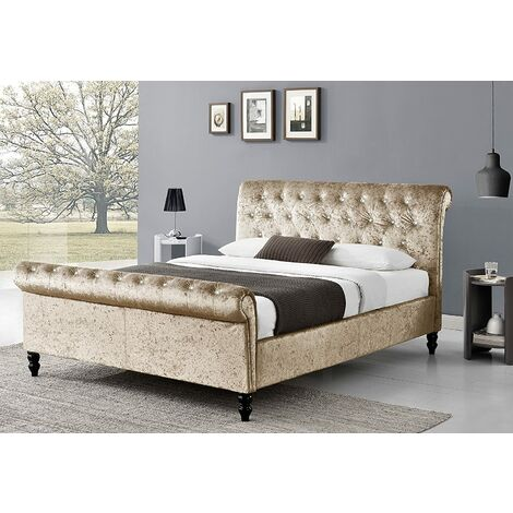 Capella Diamante Crushed Velvet Sleigh Bed