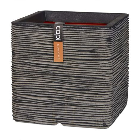 Capi Maceta cuadrada Nature Rib gris antracita 50x50 cm