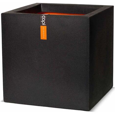 Capi Macetero cuadrado Urban Smooth 30x30x30 cm negra KBL902