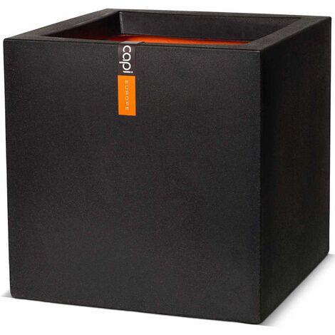 Capi Macetero cuadrado Urban Smooth 50x50x50 cm negra KBL904