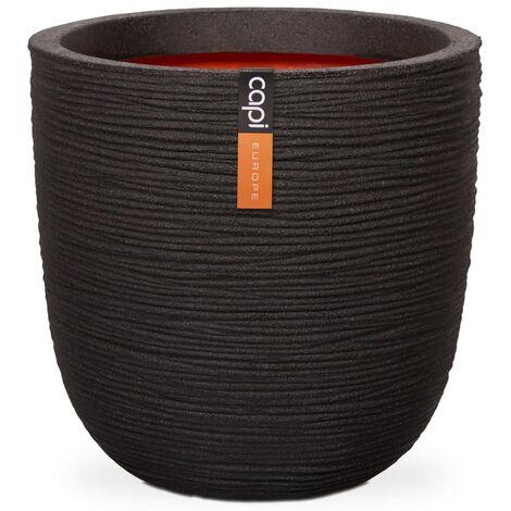 Capi Macetero redondo Nature Rib 35x34 cm negro KBLR932