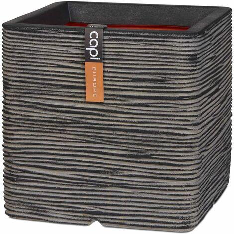 Capi Planter Nature Rib Square 30x30 cm Anthracite KOFZ902 - Grey