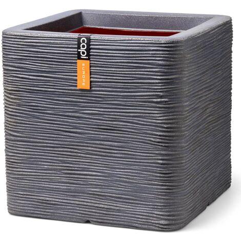 Capi Planter Nature Rib Square 30x30x30 cm Dark Grey - Grey