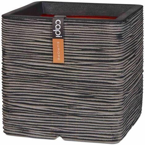 Capi Planter Nature Rib Square 40x40 cm Anthracite KOFZ903 - Grey