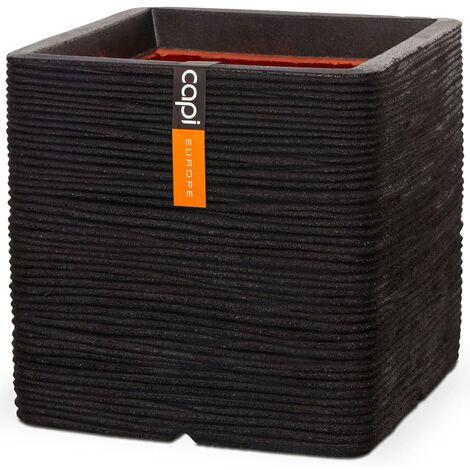 Capi Planter Nature Rib Square 40x40 cm Black PKBLR903