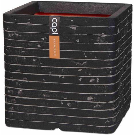 Capi Planter Nature Row Square 30x30 cm Anthracite KRWZ902 - Black