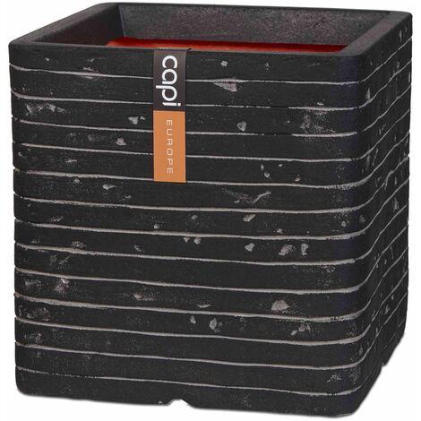 Capi Planter Nature Row Square 40x40 cm Anthracite KRWZ903 - Black
