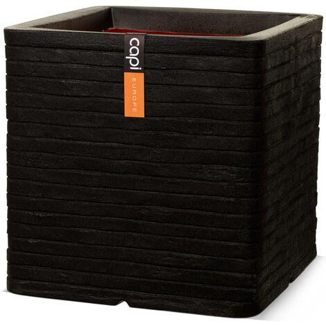 Capi Planter Nature Row Square 40x40 cm Black KBLRO903