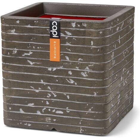 Capi Planter Nature Row Square Row 30x30x30 cm Olive Green - Green
