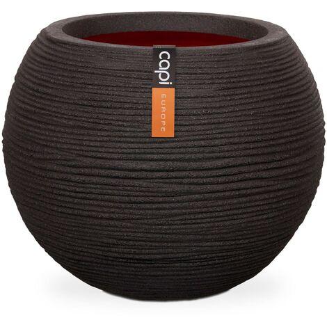 Capi Vase Nature Rib Ball 62x48 cm Black KBLR271
