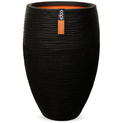 Capi Vase Nature Rib Elegant Deluxe 40x60 cm Black KBLR1131