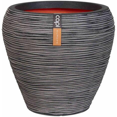 Capi Vase Nature Rib Tapered 42x38 cm Anthracite KOFZ362