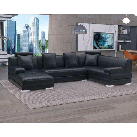 CAPITOLE - Canapé d'angle panoramique gauche capitonné en cuir noir