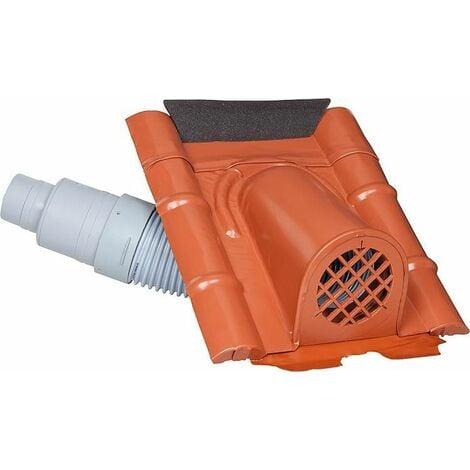 Capot d'aération type beton avec flexible PVC, couleur marron