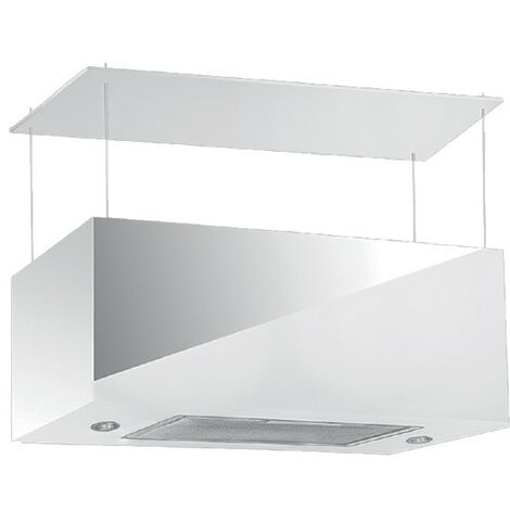 Cappa aspirante bianca cucina a isola schermo touch luce led 75x35xh35cm