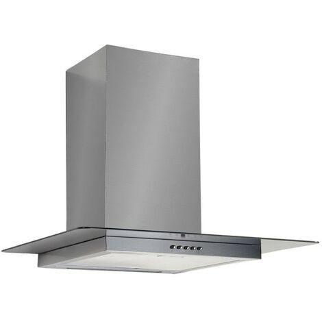 Cappa aspirante in acciaio e vetro a parete e lampada alogena 90x50cm