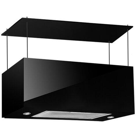 Cappa aspirante nera per cucina a isola schermo touch luce led 60x35cm