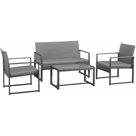 CAPRERA - Muebles de jardín de resina trenzada gris - 4 asientos - Cojines grises