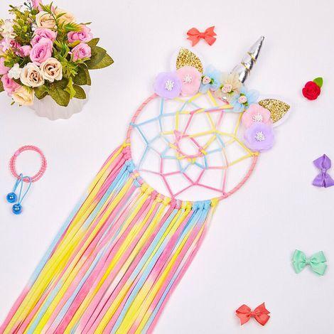 Capteur de Rêve Suspendu Mural Décoration Modèle Licorne Attrape Dreamcatcher Dream Catcher pour clips cheveux Diamètre 20cm