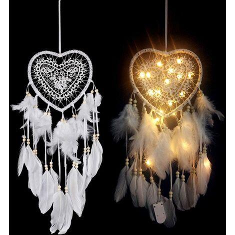 Capteur de Rêves en Plumes, Attrape Reve en Plumes avec lumière LED, Forme de Cœur, Fait à la Main Exquise Plumes Attrape-rêves pour Enfants, Maison, Voiture, Chambre à Coucher, Mariage, Cadeau
