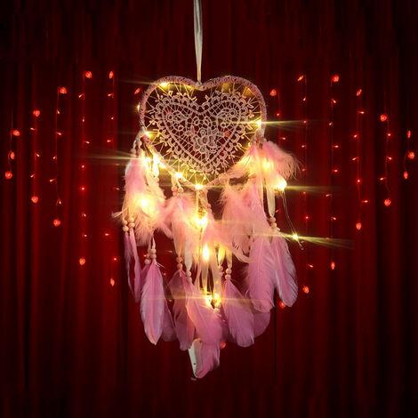 Capteur de Rêves en Plumes, Attrape Reve en Plumes avec lumière LED, Forme de Cœur, Fait à la Main Exquise Plumes Attrape-rêves pour Enfants, Maison, Voiture, Chambre à Coucher, Mariage, Cadeau.