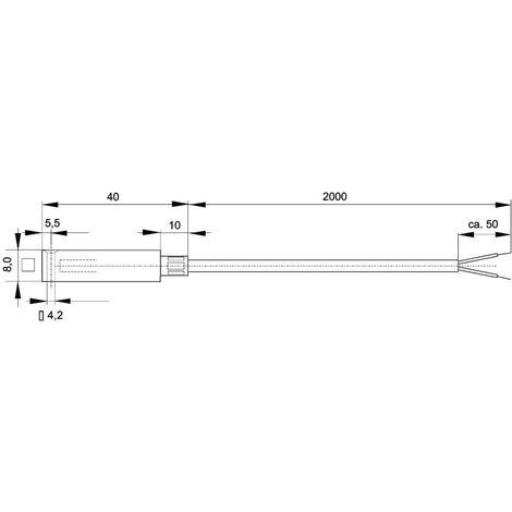 Capteur de température Enda K10-TC-J-40x8x8-2m Type de sonde J Gamme de mesure -50 à 400 °C Longueur du câble 2 m 1 pc(s)