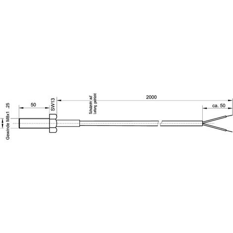 Capteur de température Enda K4-TC-J-M8x50-2m Type de sonde J Gamme de mesure -50 à 400 °C Longueur du câble 2 m 1 pc(s)