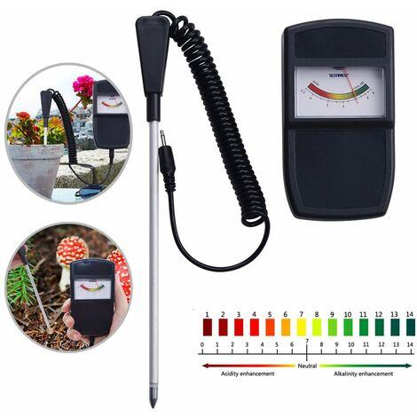 Capteur de testeur de pH du sol de type pointeur avec sonde détachable, kit d'outils de test d'acidité de surveillance de la qualité de jardinage pour jardinier intérieur extérieur jardin ferme pelouse ménage
