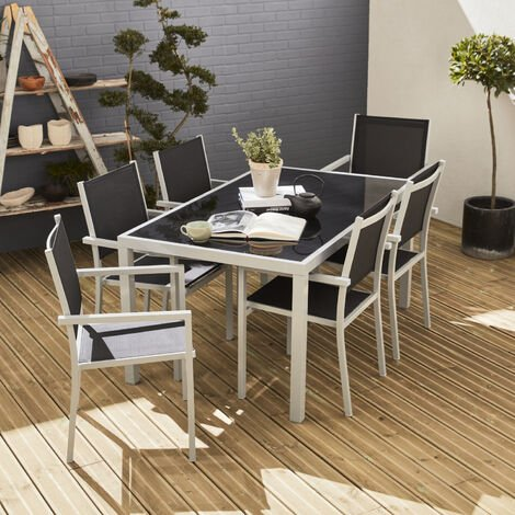 Capua: Garden table and chairs, grey / black