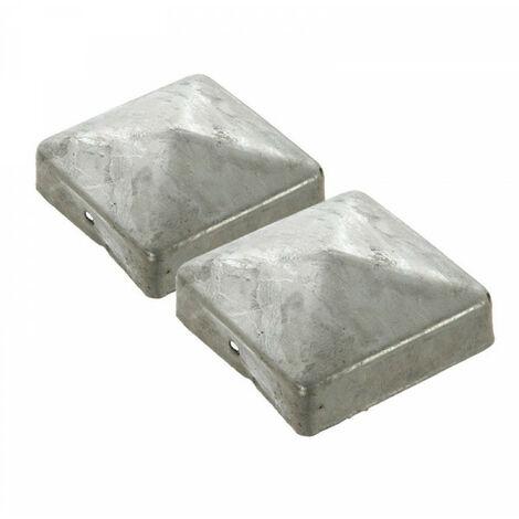 Capuchon-Chapeau de Poteau cloture-métal galvanisé - 9X9cm- lot de 2 piéces