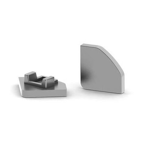 Capuchon En Aluminium Pour Profilé Led Alu-45 - Sans Trou De Câble - Argent