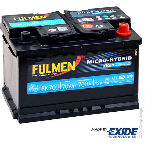 Car battery FULMEN Start-Stop AGM FK700 12V 70Ah 760A