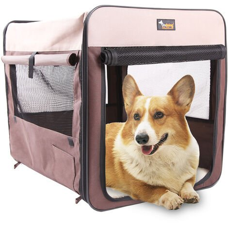 """main image of """"Car dog cage, trunk, dog cage, tent, portable car mat, dog car artifact, cat cage, cat and dog delivery room M-60 * 42 * 42cm (suitable for size dogs medium), brown folding cage"""""""