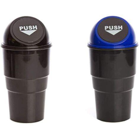 Car garbage car (2pcs), small universal trash can for car, mini plastic plastic trash bin storage storage trash of storage motor vehicles (black + blue)