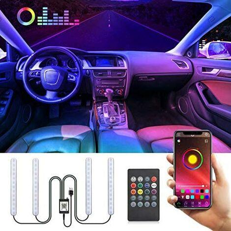 Car Interior Light, Multi-Color Music LED Strip with APP, Car Interior LED Lamp, Car Neon Light with USB Port, Wireless Remote Control, Music and Voice Control
